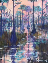Art: Swamp Landscape 14x18 #4990 by Artist Ke Robinson