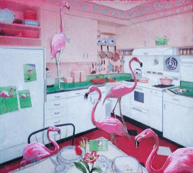 Art: SOLD - Flamingos in the Kitchen by Artist Shawn Marie Hardy