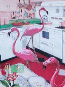Detail Image for art SOLD - Flamingos in the Kitchen