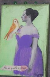 Art: She Is Quite a Prize original collage painting by Artist Nancy Denommee