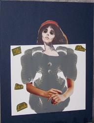 Art: No Place For a Lady ink blot collage by Artist Nancy Denommee