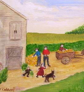 Detail Image for art Harvesting the Pumpkins (Sold)