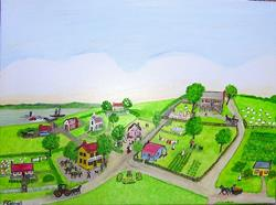 Art: Village Life (Sold) by Artist Fran Caldwell