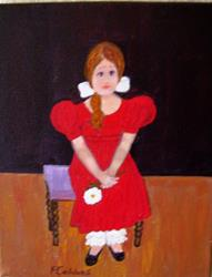 Art: Red Dress (SOLD) by Artist Fran Caldwell