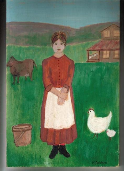 Art: Katy Finished Her Chores (SOLD) by Artist Fran Caldwell
