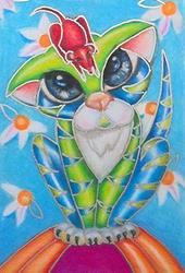 Art: Daisy Kitty SOLD by Artist Alma Lee