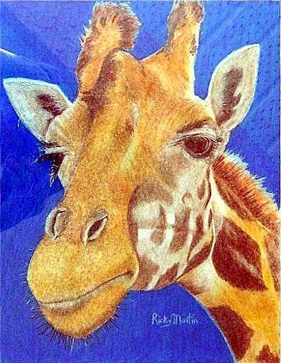 Art: Giraffe Portrait by Artist Ulrike 'Ricky' Martin
