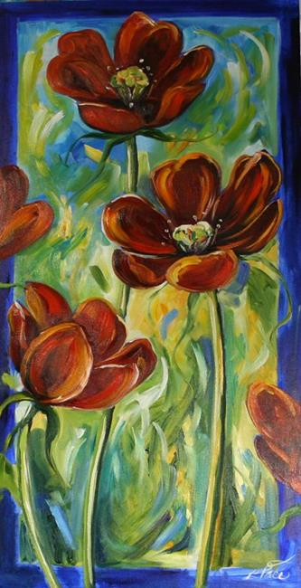 Art: Red Flowers for Sharon by Artist Laurie Justus Pace