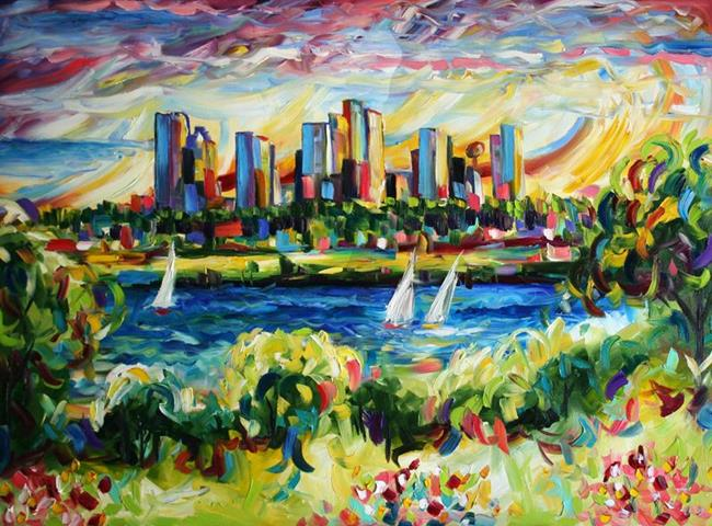 Art: Windy City Sunset by Artist Laurie Justus Pace