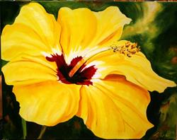 Art: Kim's Yellow Hibiscus by Artist Laurie Justus Pace