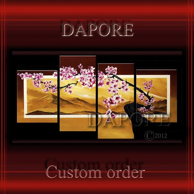 Art: Cherry blossom 1 four canvas painting by Artist Theo Dapore