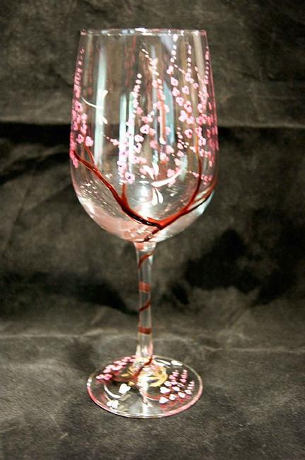 Art: Heather II Dragonfly Cherry Blossom White Wine Glass by Artist Rebecca M Ronesi-Gutierrez