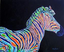 Art: Abstract Zebra ( sold ) by Artist Ulrike 'Ricky' Martin