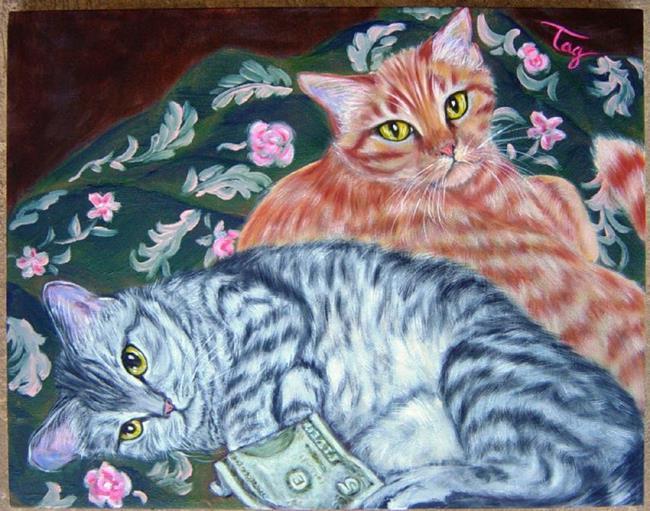 Art: Cat Pair Portrait with $5 bill by Artist Tracey Allyn Greene