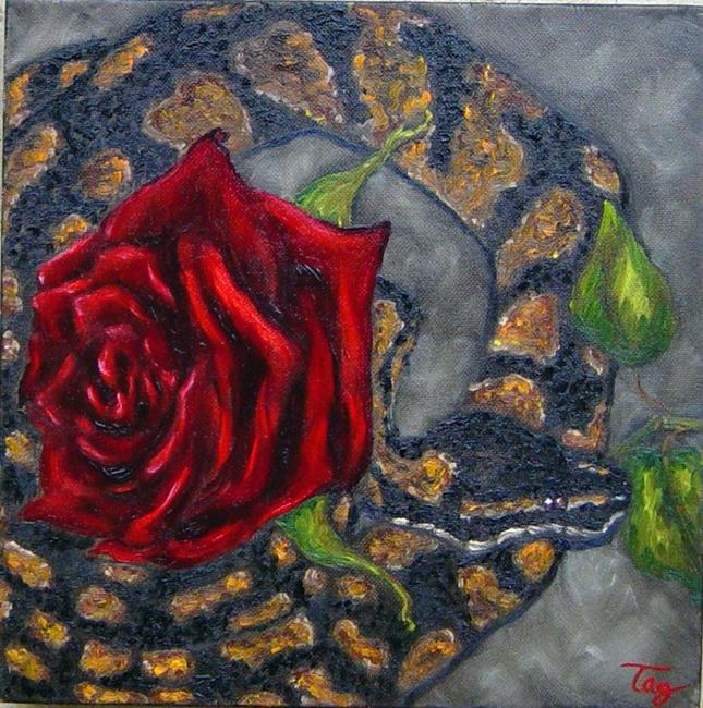 Art: Snake & Rose - For Alexis by Artist Tracey Allyn Greene
