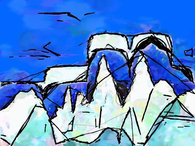 Art: Dessert Mountain Iceberg Whale Tail by Artist Deanne Flouton