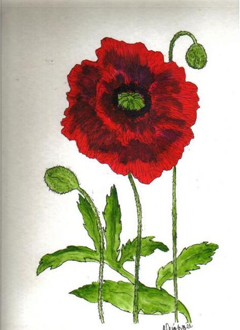 Art: Poppy original painting by Artist Nancy Denommee