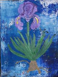 Art: Lilac Iris original abstract painting by Artist Nancy Denommee