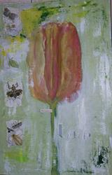Art: Tulip original abstract mixed media painting by Artist Nancy Denommee