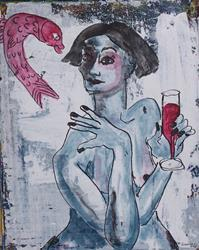 Art: Red Wine with Fish?  original painting by Artist Nancy Denommee