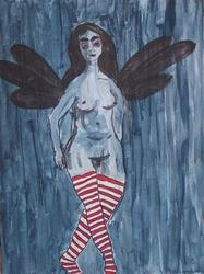 Art: Black Fairy with Red Striped Stockings original by Artist Nancy Denommee