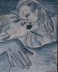 Art: Kissers original painting by Artist Nancy Denommee