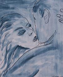 Art: Blue Romance original painting by Artist Nancy Denommee