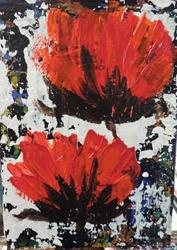 Art: two poppies by Artist Nancy Denommee