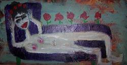 Art: frida reclining SOLD by Artist Nancy Denommee