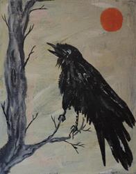 Art: raven with sun by Artist Nancy Denommee