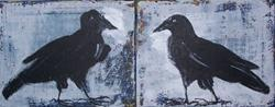 Art: Ravens Beak to Beak original abstract painting by Artist Nancy Denommee