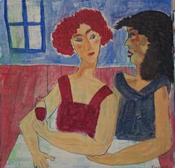 Art: Gossip Girls original painting by Artist Nancy Denommee