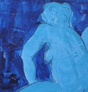 Detail Image for art blue nude on red stool