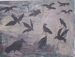 Art: A Murder of Crows original painting by Artist Nancy Denommee