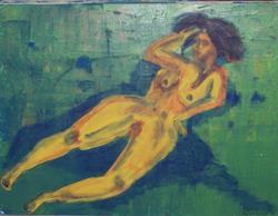 Art: Moody Nude original painting by Artist Nancy Denommee