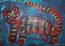 Art: Striped Cat SOLD by Artist Nancy Denommee