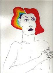 Art: Redhead with Rainbow by Artist Nancy Denommee