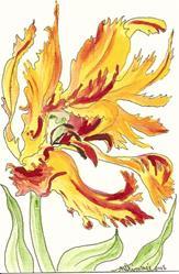 Art: Parrot Tulip original painting by Artist Nancy Denommee