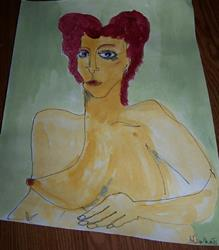 Art: Red and Green original nude painting by Artist Nancy Denommee