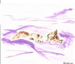 Art: Sleeping Tabby original painting by Artist Nancy Denommee