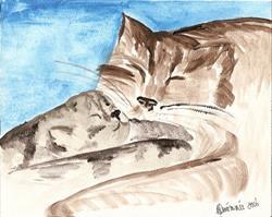 Art: Momcat and her Baby original by Artist Nancy Denommee