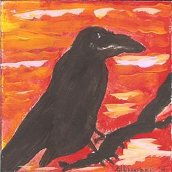 Art: raven at sunset by Artist Nancy Denommee