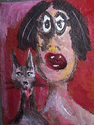 Art: Girl and Cat by Artist Nancy Denommee