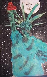 Art: Moon Shines on Liberty by Artist Nancy Denommee