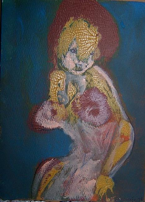 Art: Woman with Helmet SOLD by Artist Nancy Denommee