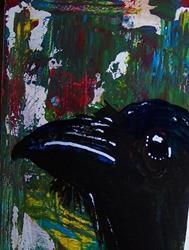 Art: Raven in Abstract detail 5 by Artist Nancy Denommee