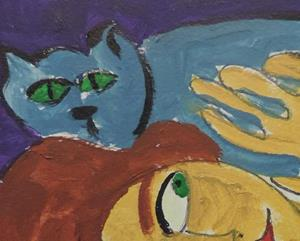 Detail Image for art nude with blue cat