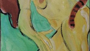 Detail Image for art nude with tabby cat