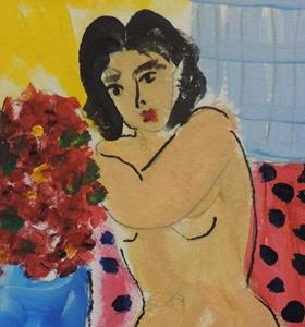 Detail Image for art nude with flowers