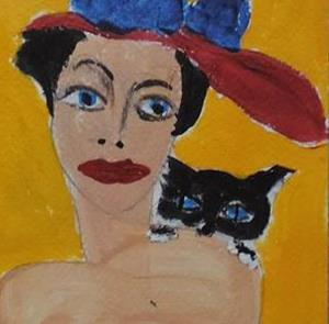 Detail Image for art woman and tuxedo cat